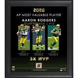 """Green Bay Packers Aaron Rodgers Fanatics Authentic Framed 15"""" x 17"""" 3-Time MVP Collage with a Piece of Game-Used Football - Limited Edition 512"""