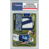 Autographed Indianapolis Colts Jacob Eason 2020 Panini Certified Gold Parallel Jumbo Prime Patch Relic RC #213 #8/10 Card -