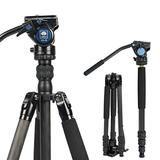 """SIRUI 2-in-1 Traveler Series Carbon Fiber Video Tripod with VA-5 Fluid Head for Cameras, Monopod Conversion, 30.9lbs Load Capacity, 62.6Inch, 360°Panning Base, 1/4"""" and 3/8"""" Screws (Carbon Fiber VC)"""