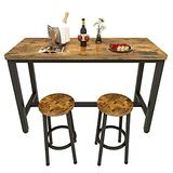 Recaceik 3 Piece Pub Dining Set, Modern bar Table and Stools for 2 Kitchen Counter Height Wood Top Bistro Easy Assemble for Breakfast Nook Living Room Small Space Restaurant, Rustic Brown 47
