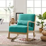 Tribesigns Solid Wood Rocking Chair Lounge Armchair, Linen Fabric Reading Chair with Soft Pillow, Upholstered Nap Chair for Nursery Living Room Bedroom