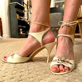 Gucci Shoes | Gucci Strappy Heels With Ankle Straps | Color: Cream | Size: 9