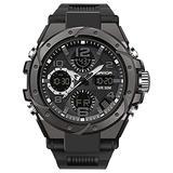 Mens Sports Watch Digital Watch Large Dial Waterproof Watch Outdoor Watch Multifunctional Military Big Wrist for Men with Alarm Watch Black