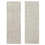 """""""( Set of 2 ) White Wood Traditional Abstract Wall Decor, 16"""""""" x 48"""""""" - 22372"""""""