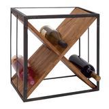 Black Wood Contemporary Wine Holder Rack, 16 x 15 x 11 - 63343