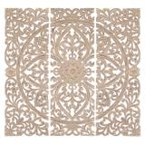 """""""( Set of 3 ) Beige Wood Traditional Wall Decor, 48"""""""" x 48"""""""" - 14318"""""""