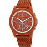 Chronograph Quartz Orange Dial Watch - Orange - Armani Exchange Watches