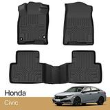 3 Piece Set Floor Mats Compatible with Honda Civic Sedan Civic Type R Civic Hatchback Floor Mats 2016-2021 TPE All Weather Protection Floor Mats Liners Black 1st & 2nd Row