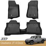 3 Piece Set Floor Mats Compatible with 2020 2021 Jeep Gladiator JT 4 Door Floor Mats TPE All Weather Waterproof Protection Floor Mats Liners Black 1st & 2nd Row