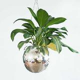 Creative Mirror Mirror Hemisphere Flowerpot Plant Hangers, Disco Ball Planter Handmade Rope Hanging Plant Holder , Stand Flower Pot Holder for Home, Garden, Office Decor (20cm)