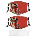 2PCS Face Mask Western,Image of Wild West Elements with Masks for Men & Women