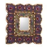 Reversed-painted glass wall accent mirror, 'Purple Beauty'