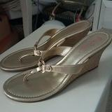 Lilly Pulitzer Shoes   Lilly Pulitzer Gold Espadrille Wedge Sandals Sz 9   Color: Gold   Size: 9
