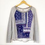 Anthropologie Sweaters   Anthro One September Paisley Patchwork Sweater S   Color: Blue/Gray   Size: S