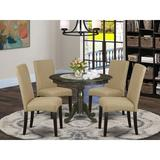 Winston Porter Chillon 4 - Person Rubberwood Solid Wood Dining Set Wood/Upholstered Chairs in Brown, Size 29.5 H x 42.0 W x 42.0 D in   Wayfair