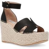 Jackal Platform Wedge Espadrille Sandals - Black - Steven New York Heels