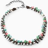 Sunshine Beaded Choker Necklace In Silver-brown-green-pink At Nordstrom Rack - Metallic - Uno De 50 Necklaces