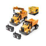 Force1 Toy Cars and Trucks - RC Mini Crane Truck & Mini Dump Truck Set