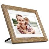 Aluratex 10-in. Digital Distressed Wood Photo Frame with Automatic Slide Show, Brown