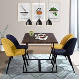Corrigan Studio® Solon 5 Piece Dining Set Wood/Metal/Upholstered Chairs in Black/Brown, Size 29.5 H in | Wayfair 5450BECF6AEB490EB2A190330E41D06F
