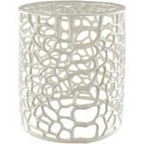 Surya Risa Iron Decorative Stool in White, Size 16.25 H x 14.0 W x 14.0 D in   Wayfair RIS001-141416