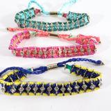 J. Crew Jewelry | J.Crew Neon Crystal Friendship Bracelet Set Of 3 | Color: Blue/Pink | Size: Os