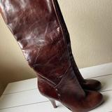 Nine West Shoes | 6.5 Knee High Leather High Heel Boots | Color: Brown | Size: 6.5