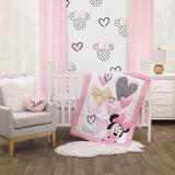 Disney Bedding | Disney Minnie Mouse Hearts 3-Pc Crib Set | Color: Pink/White | Size: Standard Crib