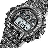 Multi-Function G Style Shock Digital Men Watch Top Luxury Brand LED 18K Gold Plated Hip Hop Male Diamond Stainless Steel Watch (Black)