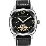 Pagani Design Men's Automatic Watches Tourbillon Fashion Men Mechanical Wristwatches Skeleton Dial Analog Digital dial Casual Leather Bracelet (Silver Black)