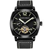 Pagani Design Men's Automatic Watches Tourbillon Fashion Men Mechanical Wristwatches Skeleton Dial Analog Digital dial Casual Leather Bracelet (All Black)