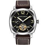 Pagani Design Men's Automatic Watches Tourbillon Fashion Men Mechanical Wristwatches Skeleton Dial Analog Digital dial Casual Leather Bracelet (Silver Brown)