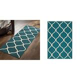 """Maples Rugs Rebecca Contemporary Runner Rug Non Slip Hallway Entry Carpet, 1'9"""" x 5', Teal/Sand & Rebecca Contemporary Kitchen Rugs Non Skid Accent Area Carpet [Made in USA], 2'6 x 3'10, Teal/Sand"""