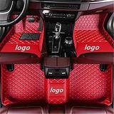 WeiRanShangMao Car Custom Floor Mats for Ford Focus 2005-2011 (Aisle 19cm) Luxury Leather Waterproof Non-Slip Full Coverage Floor Line Full Set (red,for Ford Focus 2012-2018)