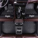 WeiRanShangMao Car Custom Floor Mats for Ford Focus 2005-2011 (Aisle 19cm) Luxury Leather Waterproof Non-Slip Full Coverage Floor Line Full Set (Black White,for Ford Focus 2005-2011 (Aisle 19cm))