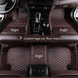 WeiRanShangMao Car Custom Floor Mats for Ford Focus 2005-2011 (Aisle 19cm) Luxury Leather Waterproof Non-Slip Full Coverage Floor Line Full Set (Coffee,for Ford Focus 2012-2018)