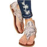 Summer Sandals for Women, Comfort Leopard Leather Sandals Casual Summer T-Strap Open-Toe Thong Sandals Dressy Travel Beach Non-slip Slippers Women Flat Sandals