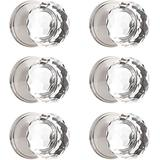 Orger 6 Pack Half Dummy Door Knobs, Round Facefed Crystal Door Knobs for French Door, Inactive Knobs Without Latch and Lock, Clear Glass with Satin Nickel Rosette