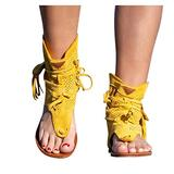 Tassel Sandals for Women, Gladiator Fringe Thong Flat Sandals Retro Bohemian Sexy Beach Roman Boots Tassel Hollow Out Sandals (Yellow, numeric_10_point_5)