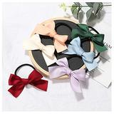 6Pcs Color Bow Hair bands Girl Satin Ribbon Headband elastic Rubber Hair ring Children Hair tie hair ponytail hair accessories