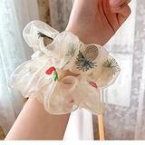 2021 Summer Fashion White Mesh Floral Embroidery Women's Hair Scrunchies Hair Tie Hair Accessories Ponytail Hair accessories 2pcs