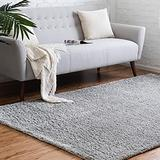 Rugs.com Soft Solid Shag Collection Area Rug – 8x11 Cloud Gray Shag Rug Perfect for Living Rooms, Large Dining Rooms, Open Floorplans