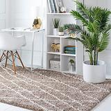 Rugs.com Soft Touch Shag Collection Area Rug – 4x6 Khaki Shag Rug Perfect for Entryways, Kitchens, Breakfast Nooks, Accent Pieces