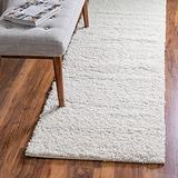 Rugs.com Soft Solid Shag Collection Runner Rug – 10 Ft Runner White Shag Rug Perfect for Hallways, Entryways