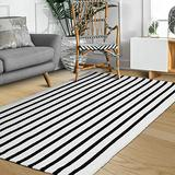 """Breezsisan Black and Cream Stripe Rugs Cotton Woven Area Rugs Large 47.2"""" x 70.8"""" Throw Floor Rug for Living Room, Bedroom, Kitchen, Farmhouse, Porch/ Black and Cream"""