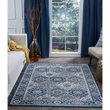 Newcomb Navy Machine Washable Large 8x10 Area Rug 8x10 for Living Room - 8x10 Area Rugs 8x10 Carpets Bedrooms Rugs for Living Room 8x10 Carpet Alfombras para Salas Grandes Modernas