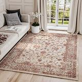 Traditional Beige & Red Area Rug, Babylon Collection - Classic Motif Vintage Turkish Accent Rug by Abani Rugs (9' x 12', Beige, Red)