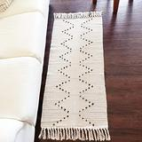 breezsisan Beige Boho Bathroom Rugs Runners Cotton Woven Rug with Tassels Moroccan Kitchen Rug 2' x 4.3' Throw Area Rugs Bedroom Geometric Rug Layering Front Door Mat Rug for Living Room Laundry Porch