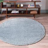 Rugs.com Soft Solid Shag Collection Round Rug – 6 Ft Round Sage Green Shag Rug Perfect for Kitchens, Dining Rooms
