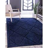Rugs.com Lattice Shag Collection Rug – 5' x 8' Navy Blue Shag Rug Perfect for Living Rooms, Large Dining Rooms, Open Floorplans